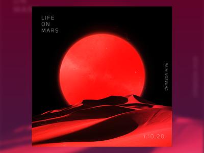 Life On Mars(Red Moon) planet desert design rock sand digital art poster artwork silence futuristic alone moon solitude graphic art red poster design red moon life graphic design cover art mars