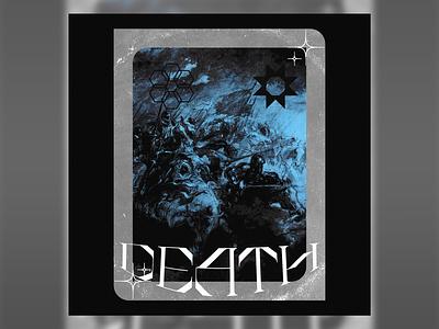 Death Sun soul grim reaper warrior medieval design poster design digital art poster artwork graphic design monochrome blue sun war death graphic art cover art