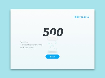 Thinglinx 500 Page error page web ux ui flat 500