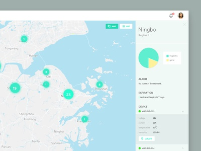 Map - Device Managing System chart flat responsive web system map
