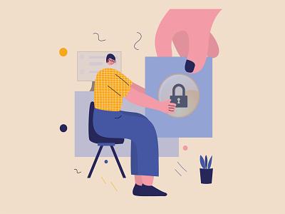 Take it safe art lock safe man character design vector illustration