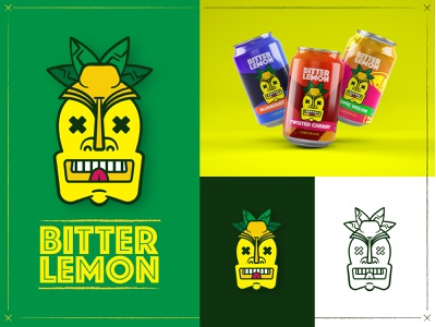 Tiki Lemonade Stand Branding beverage yellow green branding weekly warmup lemonade tiki
