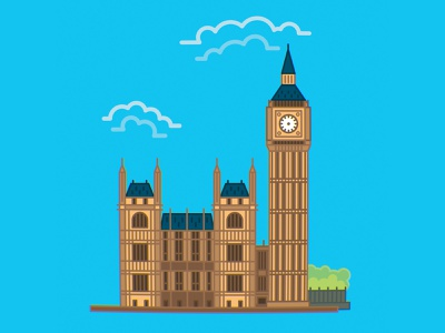 Big Ben and a blue sky uk london architecture minimalistic sticker lines vector illustration graphic art