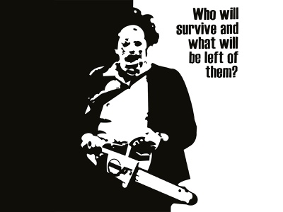 This is Halloween terror killer massacre chainsaw black and white monster graphic art illustration horror movie halloween