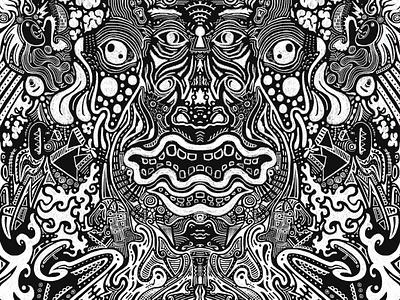 White Lines blackboard black white chalk tribal graphic art procreate illustration drawing