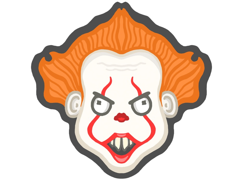 Pennywise pennywise it drawing lines sticker mule horror clown sticker graphic art illustration design