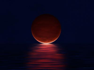 The Moon And The Ocean dark simple planet moon sea ocean water night