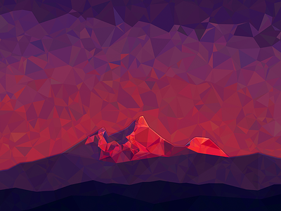 Where Tahrs Live mountains himalayas sunrise simple abstract triangular purple violet red
