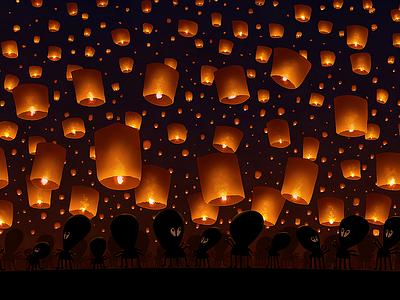 Sky Lanterns aliens night sky space stars lamps lanterns chinese light red gold dark black
