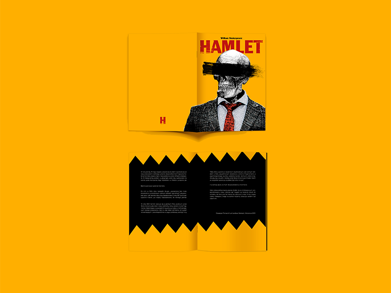 The Hamlet book flyer broshure future crazy tie black crown suits suit skeleton typography branding vector illustration design yellow poznan poland minimalist
