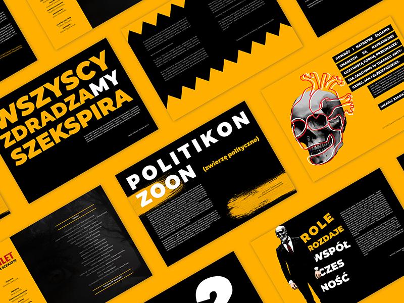 The Hamlet flyer broshure future crazy wather tie black suits suit skeleton typography branding vector illustration design yellow minimalist poznan poland