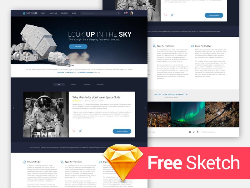 Interstellar Home Page UI Theme (free .Sketch) download free download sketch home home page space template theme free ux ui