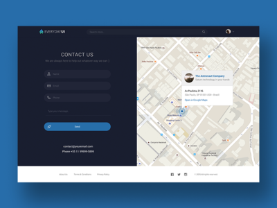 Contact Page UI pin web blue map form contact design ui