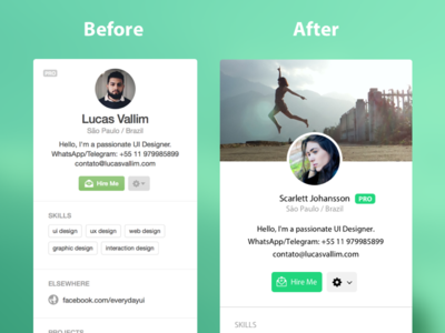 Dribbble User Profile Redesign Concept flat web web design user profile redesign ux ui ui design