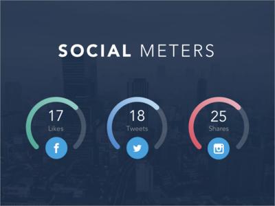 Social Meters social media stats flat chart bars dashboard analytics ui design