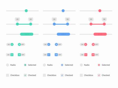 Ui Elements -  Light Version elements form switch slider ui design