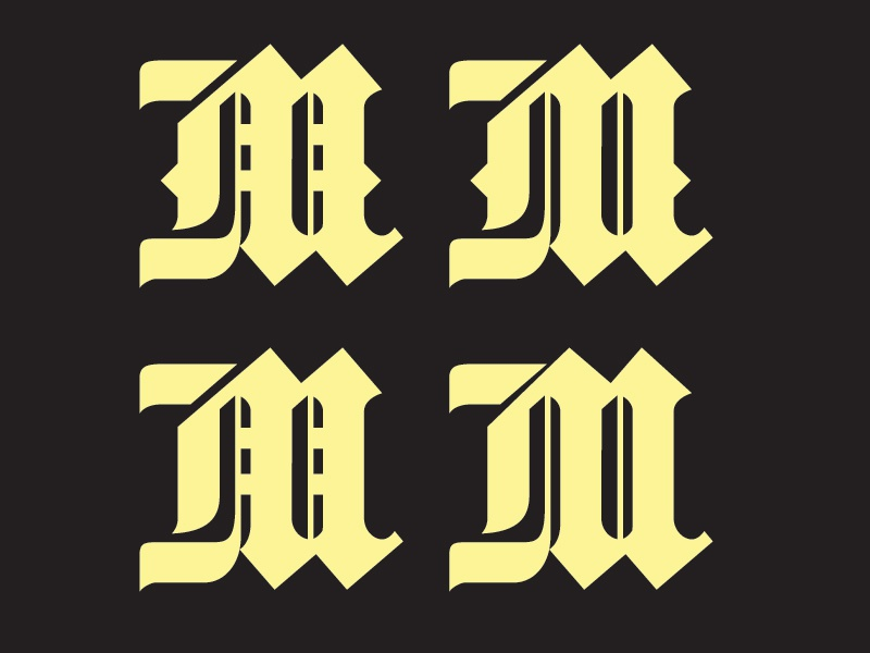 Blackletter M Logo Design By Jake Rainis