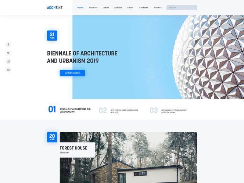 Architectrural magazine concept concept magazine clean landing page concept landing page experiment ux ui theme design