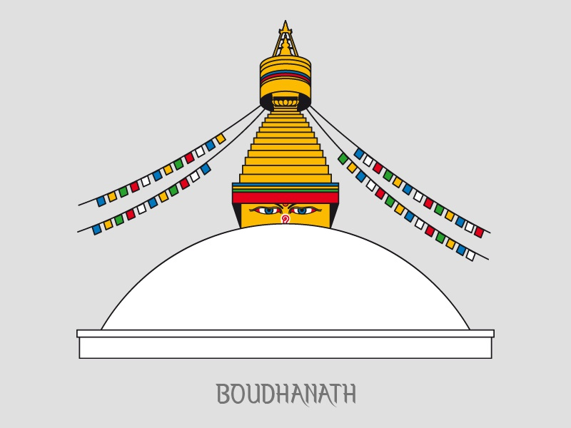 Boudhanath - Nepal nepal rises peace buddha eyes neptouch caps prayer flags buddhists illustration buddha boudha boudhanath nepal