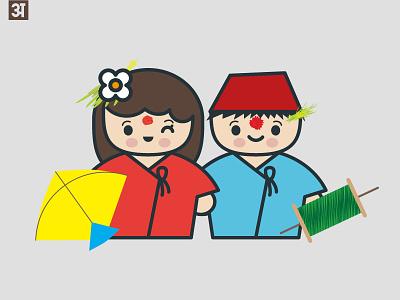 Happy Dashain 2015 happy illustration cute tika changa kites festival nepal nepali dashain
