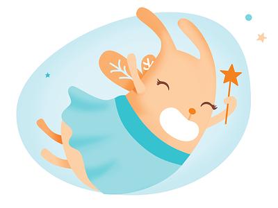 Dazzy the fairy bunny illustration illustrator animals vector postcard sticker tote bag