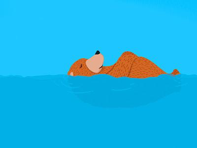 Bear in summer life illustration bear