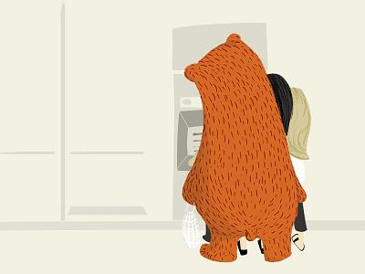 Bear at the ATM machine life illustration bear