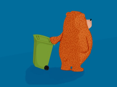 Bear too late for the garbage truck life illustration bear