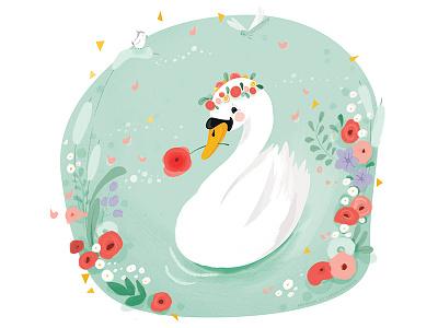 Midsummer swan illustration animals swan