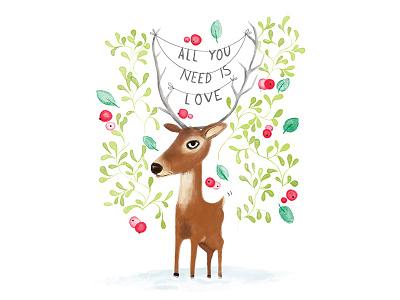 Christmas love deer thebeatles beatles forest deer seasonal postcard illustration love christmas animals