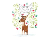 Christmas love deer