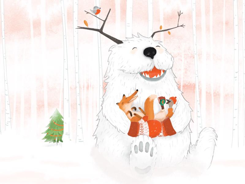 Yuri the gentle yeti singing with friends snow winter animals illustration print postcard christmas seasonal yeti