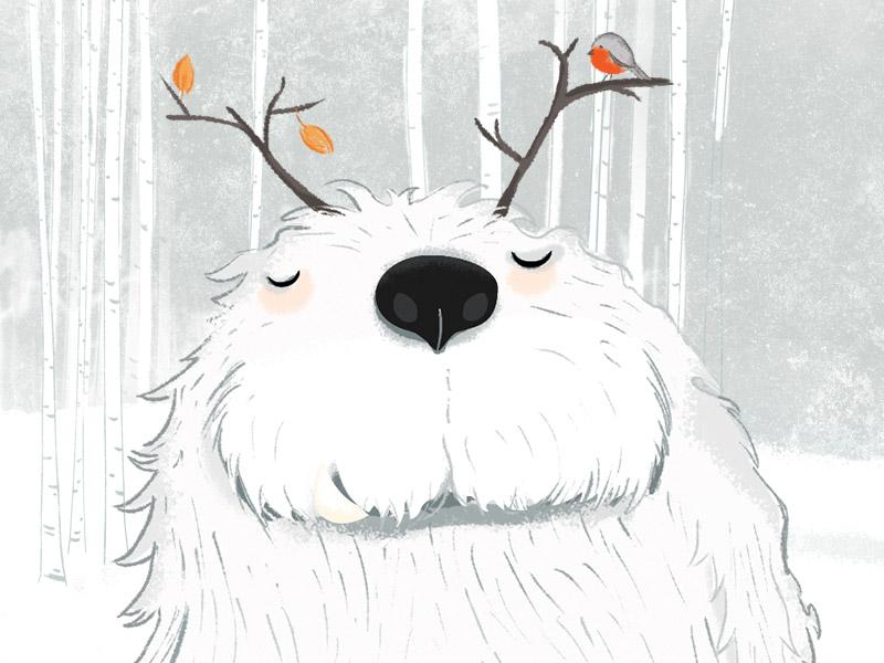 Yuri the gentle yeti yeti winter snow seasonal print postcard illustration christmas animals