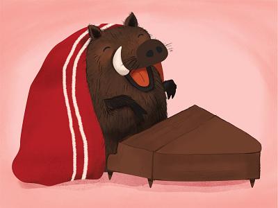 Singing boar piano boar winter snow seasonal print postcard illustration christmas animals