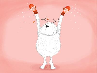 Yuri the yeti yeti winter snow seasonal print postcard illustration christmas animals