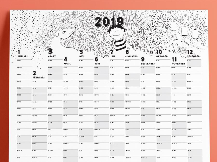 Family calendar 2019 header illustration mindfulness calendar 2019 animals illustration