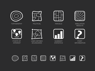 Icons for GIS Interface visualization data maps gis vector user experience ui icons