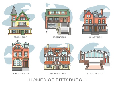 Homes of Pittsburgh icon illustraction sketch vector pittsburgh architecture homes buildings