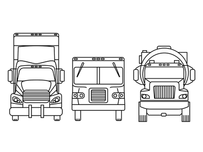 Three Trucks wheels cars transportation trucks outlines illustration
