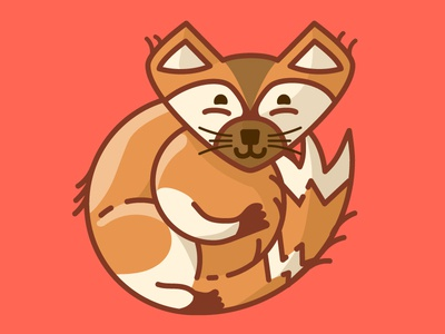 Happy New Year puppy dog fox shadows outline icon illustrator animal