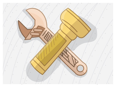 Wrench and Flashlight illustrator profile shading line art tools vector