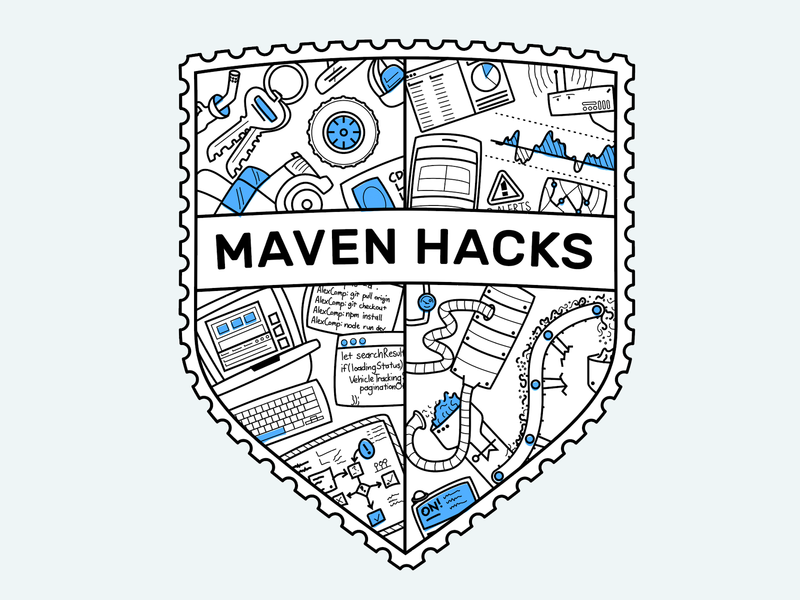 Maven Hacks Shield illustration illustrator truck vector hackathon badge