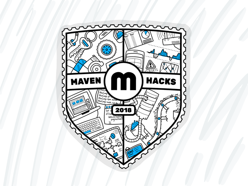 Maven Hacks Shield logo texture illustrator vector illustration