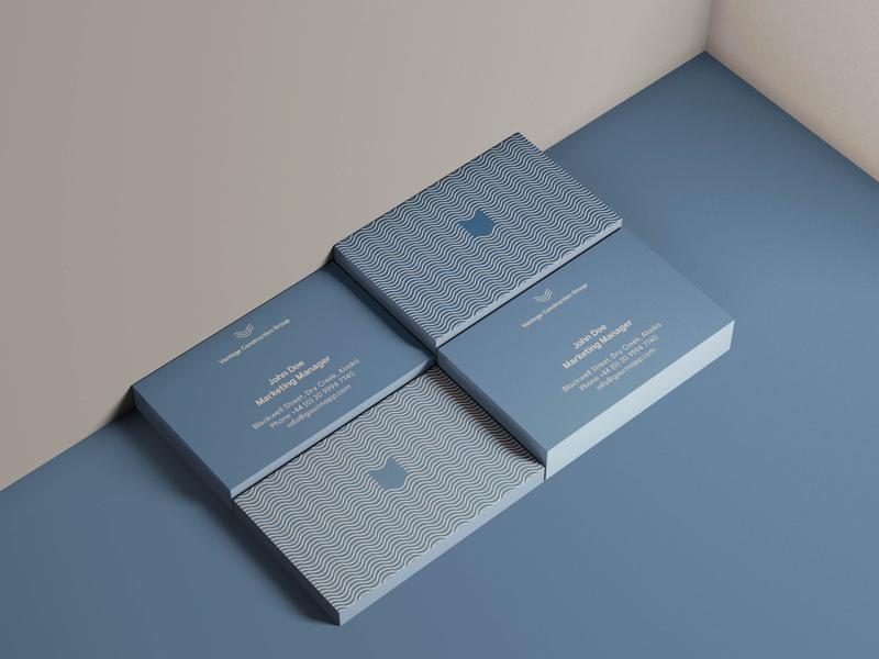 Vantage Construction Logo Design business adobe illustrator brand identity mockup minimalism business card blue logo design logo construction