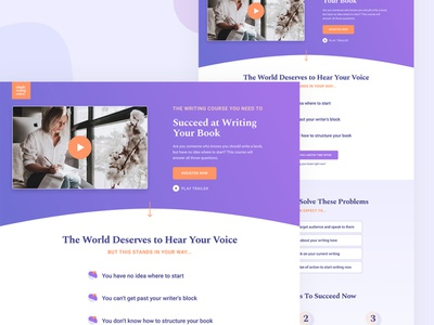 Writing Course Lead Page design layout minimal website web design
