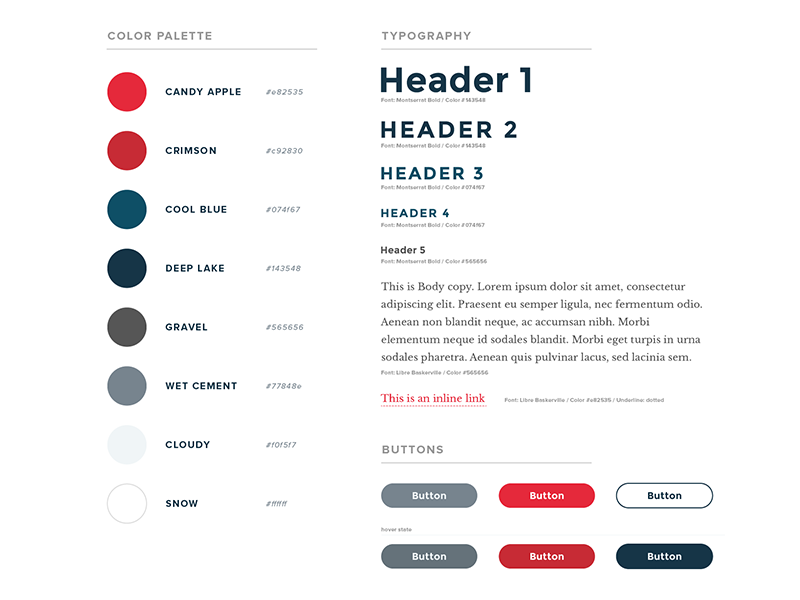 Style Guides style guide styles typography web web design web ui web interface color palette red blue