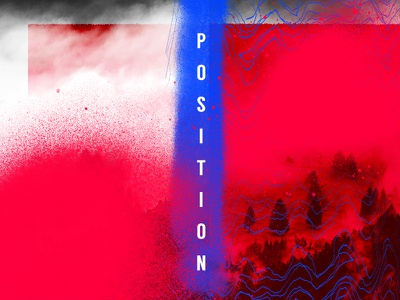 Position typography shapes pattern blue red layout identity paint color