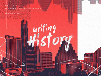 Writing History typography brush stroke ink pen gradient red skyline