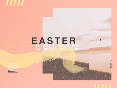 Easter 2018 brush stroke yellow peach gradient cross orange easter