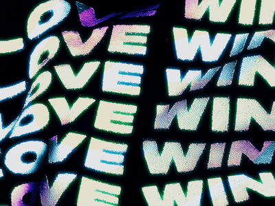 LOVE WINS textile print glitch gradient typography